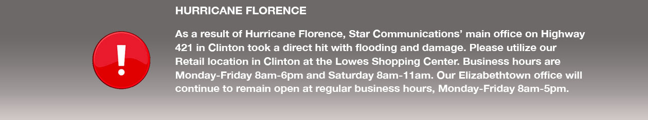 Hurricane Florence may cause outages. If so outages to 1-800-945-4233